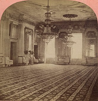 East Room - The East Room in a stereograph made during the administration of President Andrew Johnson, showing the Lincoln redecorations.