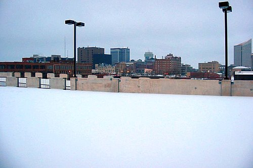 Downtown Wichita during a winter snowfall. - Wichita, Kansas