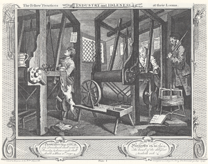 Industry and Idleness - Exactly equal footing at their first meeting. Tom is on the left, Francis on the right and the master weaver on the extreme right