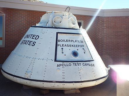 An Apollo boilerplate command module is on exhibit in the Meteor Crater Visitor Center in Winslow, Arizona. Winslow-Meteor Crater- Apollo Test Capsule.jpg