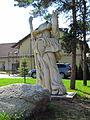 Wood statue of Krakonoš in Krhov, Třebíč District.JPG