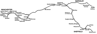Manchester–Sheffield–Wath electric railway - A geographically accurate map of the route. (click to expand)