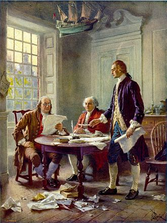 United States Declaration of Independence - This idealized depiction of (left to right) Franklin, Adams, and Jefferson working on the Declaration was widely reprinted (by Jean Leon Gerome Ferris, 1900).