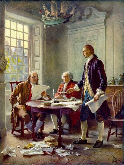 This idealized depiction of (left to right) Franklin, Adams, and Jefferson working on the Declaration was widely reprinted (by Jean Leon Gerome Ferris, 1900). Writing the Declaration of Independence 1776 cph.3g09904.jpg