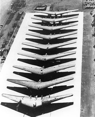 Northrop YB-49 - Partially completed YB-35B airframes lined up for completion or conversion to YRB-49As.