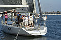 Yachts race at the mark in Newport Harbor by D Ramey Logan.jpg