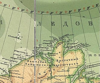 Severnaya Zemlya - ca 1902 map section of the Yeniseysk Governorate with empty ocean where the archipelago should be.