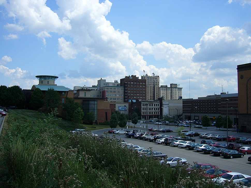 Downtown Youngstown from a nearby hill.