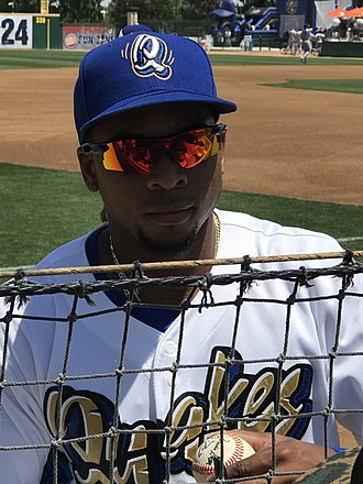Los Angeles Dodgers minor league players - Yusniel Díaz with the Rancho Cucamonga Quakes