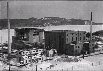 John Cockcroft - ZEEP reactor in February 1954 with NRX and NRU (under construction, in background)