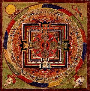 Bardo Thodol - Centuries old Zhi-Khro mandala, a part of the Bardo Thodol's collection, a text known in the West as The Tibetan Book of the Dead, which comprises part of a group of bardo teachings held in the Nyingma (Tibetan tradition) originated with guru Padmasambhava in the 8th Century.