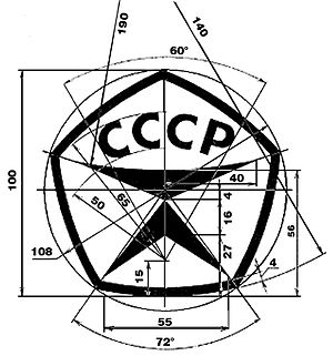 State quality mark of the USSR - Mark of the quality mark of the USSR with the dimensions and angles
