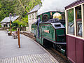 """Earl of Merioneth"" at Tan Y Bwlch with the day's last train to Porthmacog (7819948694).jpg"