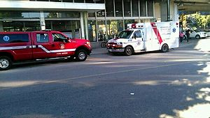 Vancouver Fire and Rescue Services - Medic 15 on scene with a medical