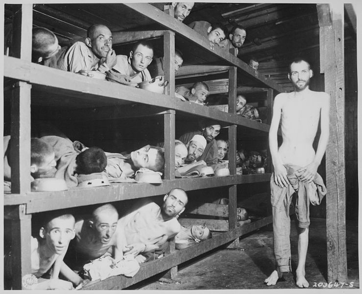 "File:""These are slave laborers in the Buchenwald concentration camp near Jena, many had died from malnutrition when U.S. troo - NARA - 535560.jpg"