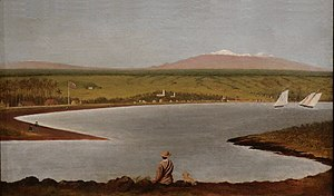 "Joseph Nāwahī - ""Hilo Bay'"", oil painting, circa 1868, Mission Houses Museum, Honolulu"