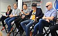(L to R) IGN's Laura Prudom, Dan Jurgens, Jim Lee, Frank Miller, Brian Michael Bendis at SXSW 2018 (40048182364).jpg