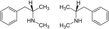 Strukturformel von (S)-Methylamphetamin und (R)-Methylamphetamin