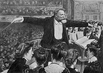 """Concerts Colonne - """"Colonne conducting."""" 1905. Lithograph by Hector Dumas."""