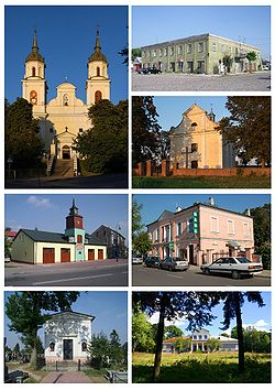 Żelechów views: Zwiastowania NMP Church, town hall, old fire station, Filialny church