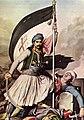 Ο Νικ. Μητρόπουλος στήνει τη σημαία στο φρούριο.jpg
