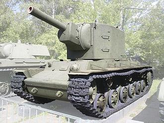 Kliment Voroshilov tank - KV-2 in Moscow museum with KV-1 in background