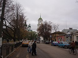 The town's main street, with the belltower in the background.