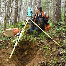 A woman holding a notebook crouches next to a theodolite on a tripod. The instrument is set up on a bank in a forest.