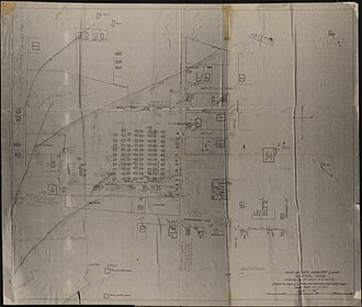 Houston riot of 1917 - Map 24th infantry camp; Houston, Texas, showing bullet holes in vicinity (circa 1917)