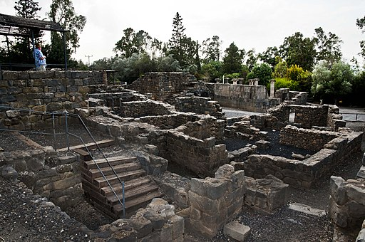 0065הכפר המשוחזר במתחם הכפר התלמודי שבעיר קצרין אשר ברמת הגולן ברקע בית הכנסת
