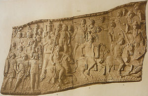 Focale - Focalia worn by cavalry troopers and some infantry on a panel from Trajan's Column