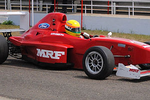 Ajith Kumar - Ajith Kumar competing in the final round of the MRF racing series (2010) in Chennai