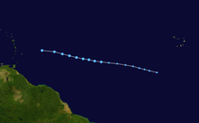 Un'immagine raffigurante le tracce di una depressione tropicale di breve durata nell'Atlantico centrale e orientale alla fine di luglio 2014.