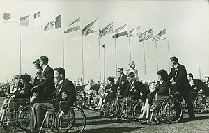 1964 Summer Paralympics - Members of the Australian Team march at the Opening Ceremony of the Tokyo 1964 Summer Paralympic Games