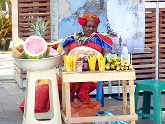 Palenquero - A Palenquero woman selling fruit in the Plaza de San Pedro Claver, Cartagena, Colombia