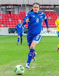 Icelandic footballer Katrín Jónsdóttir playing an international friendly against Sweden at Myresjöhus Arena in Växjö, 6 April 2013.