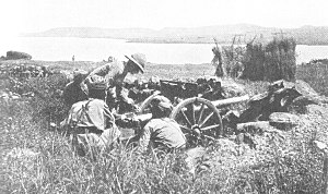 Regiment of Artillery - BL 10 pounder Mountain Gun crew in action, East Africa, World War I