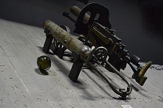 Ampulomet - Ampulomet and PM M1910 machine gun at the Museum of the Battle of Stalingrad.