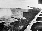 127 mm guns aboard USS Northampton (CA-26) firing on Wotje on 1 February 1942.jpg