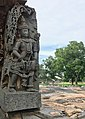12th-century musician with music instrument at Shaivism Hindu temple Hoysaleswara arts Halebidu Karnataka India.jpg