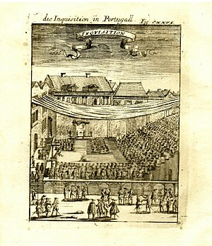 """Inquisition - A copper engraving from 1685: """"Die Inquisition in Portugall"""""""
