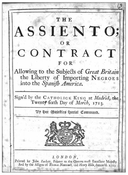 Cover of the English translation of the Asiento contract signed by Britain and Spain in 1713 as part of the Utrecht treaty that ended the War of Spanish Succession. The contract broke the monopoly of Spanish slave traders to sell slaves in Spanish America 1713 Asiento contract.png