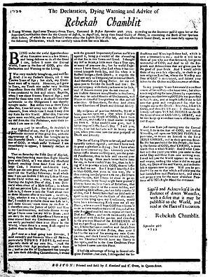 Rebekah Chamblit - Chamblit's declaration, 1733