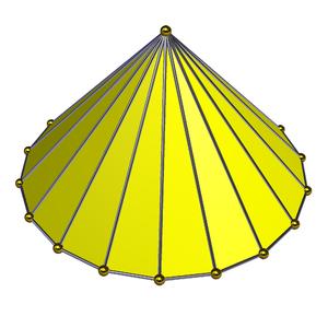 Enneadecahedron - Octadecagonal (18-sided) pyramid
