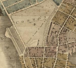 Boylston Market - Image: 1814 Common Boston map Hales