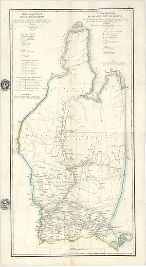 Tobolsk Governorate - 1829 map of the Tobolsk Governorate.