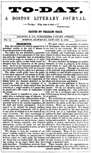 Charles Hale - Issue no.1 of To-Day, January 3, 1852