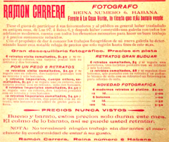 1903 Ramon Carrera photographer Havana Cuba advert.png