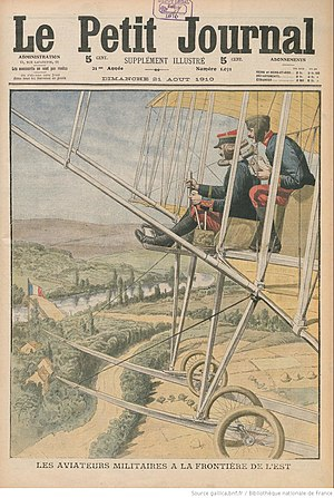 Speaking tube - Le Petit Journal, 21 August 1910.  French air-force ready to deter hostile advances along the eastern frontier, and equipped with intercom - two speaking tubes for full duplex send and receive.