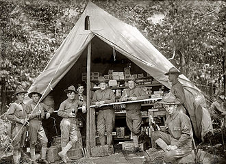 Army and Air Force Exchange Service - Soldiers take a break at a post exchange in this 1914 photo.